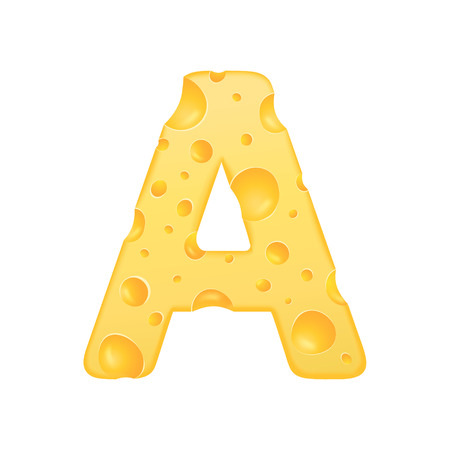 3d cheese letter A isolated on white background