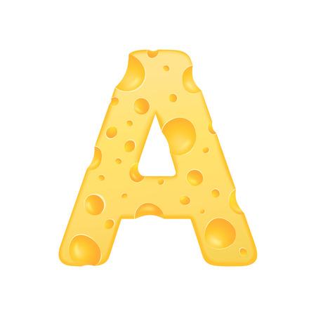 3d kaas letter A op een witte achtergrond