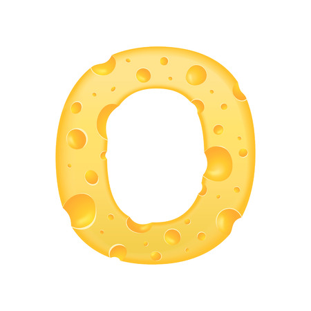 3d cheese letter O isolated on white background