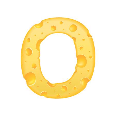 3d kaas letter O op een witte achtergrond Stock Illustratie