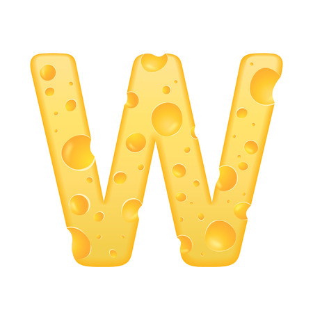 letter w: 3d cheese letter W isolated on white background