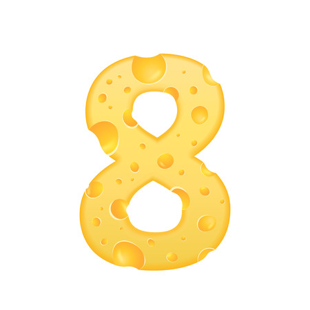 number 8: 3d cheese number 8 isolated on white background Illustration