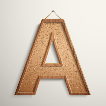 write a letter: 3d cork board texture letter A isolated on beige background