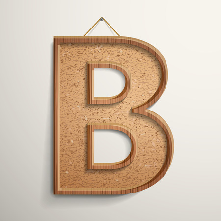 cork board: 3d cork board texture letter B isolated on beige background