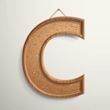 wood board: 3d cork board texture letter C isolated on beige background
