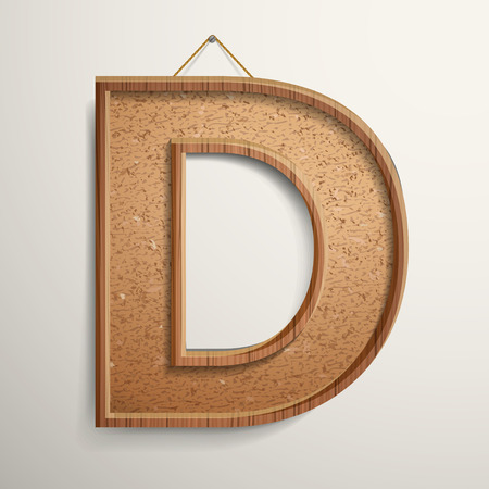 cork: 3d cork board texture letter D isolated on beige background
