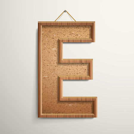 letter e: 3d cork board texture letter E isolated on beige background