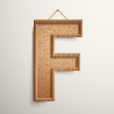 cork board: 3d cork board texture letter F isolated on beige background