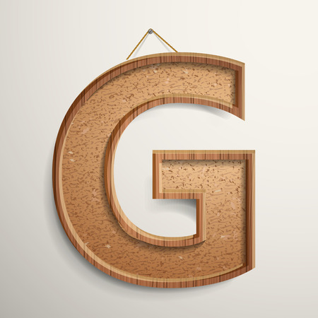 cork board: 3d cork board texture letter G isolated on beige background Illustration