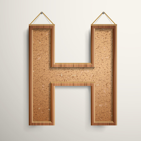 cork board: 3d cork board texture letter H isolated on beige background
