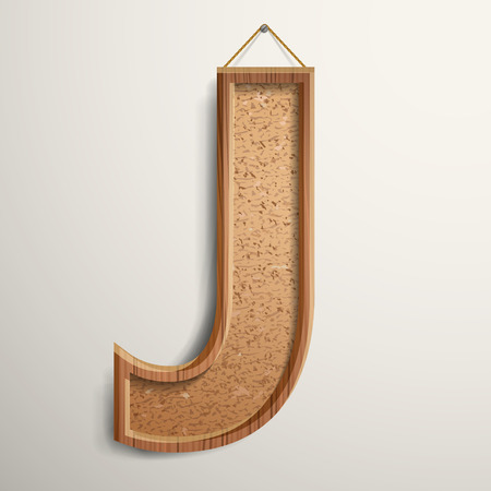 cork board: 3d cork board texture letter J isolated on beige background Illustration