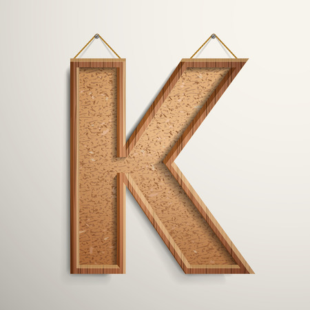 cork board: 3d cork board texture letter K isolated on beige background Illustration