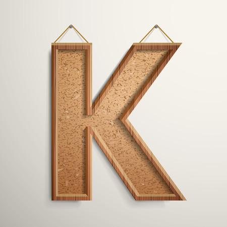 letter k: 3d cork board texture letter K isolated on beige background Illustration