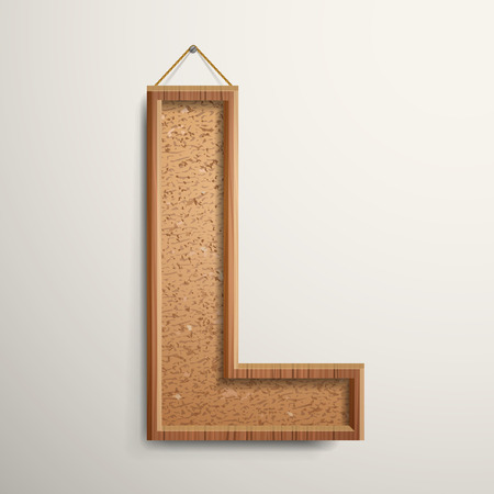 cork: 3d cork board texture letter L isolated on beige background