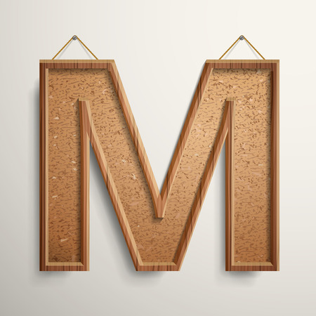 cork: 3d cork board texture letter M isolated on beige background