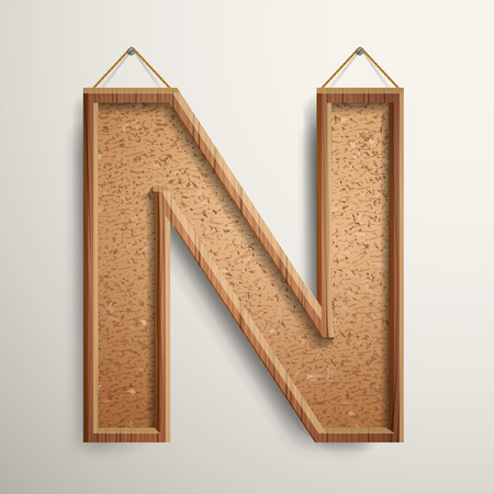 cork board: 3d cork board texture letter N isolated on beige background