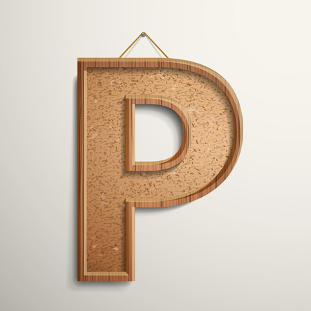 letter p: 3d cork board texture letter P isolated on beige background