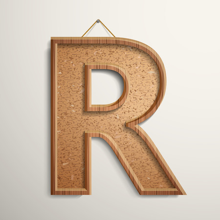 cork board: 3d cork board texture letter R isolated on beige background