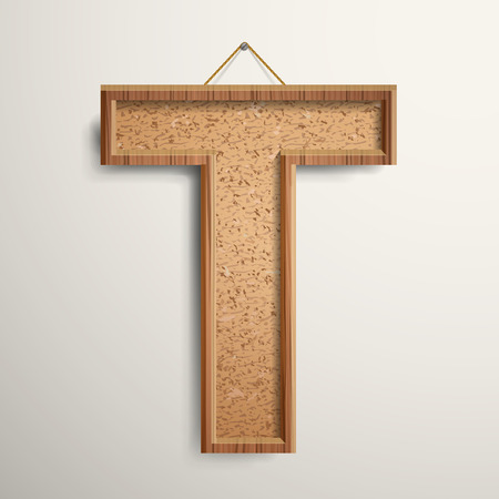 t background: 3d cork board texture letter T isolated on beige background Illustration