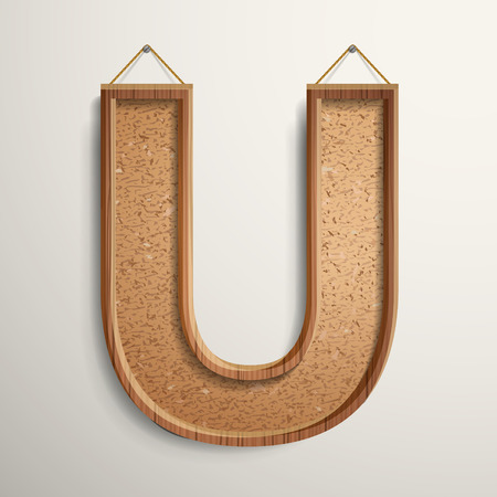 cork board: 3d cork board texture letter U isolated on beige background