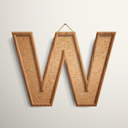 letter w: 3d cork board texture letter W isolated on beige background