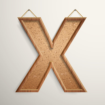 cork board: 3d cork board texture letter X isolated on beige background Illustration