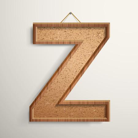 cork board: 3d cork board texture letter Z isolated on beige background Illustration