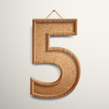 number 5: 3d cork board texture number 5 isolated on beige background