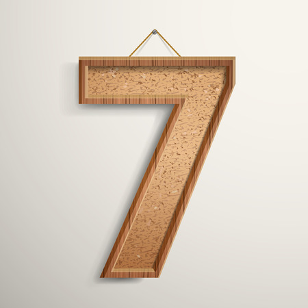 number 7: 3d cork board texture number 7 isolated on beige background