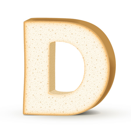 d: 3d toast letter D isolated on white background
