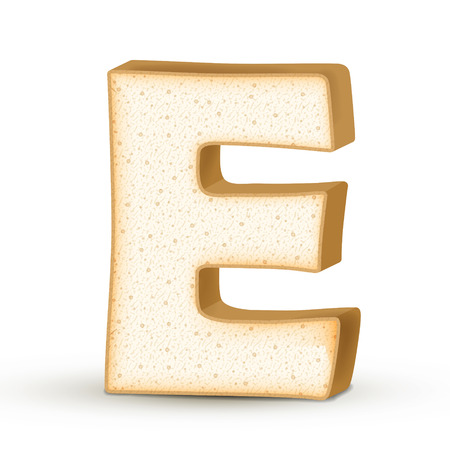 e white: 3d toast letter E isolated on white background