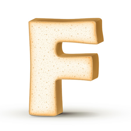 toasted: 3d toast letter F isolated on white background
