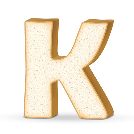 buchstabe k: 3d Toast Buchstaben K auf wei�em Hintergrund Illustration