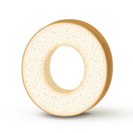 toasted: 3d toast letter O isolated on white background Illustration