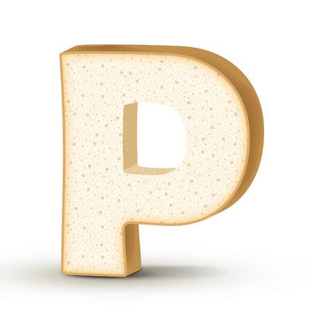 letter p: 3d toast letter P isolated on white background Illustration