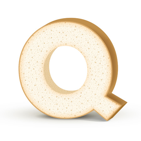 letter q: 3d toast letter Q isolated on white background