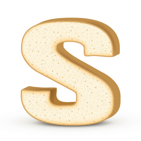 letter s: 3d toast letter S isolated on white background