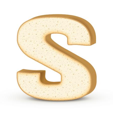 lettre s: Lettre de toasts 3d S isol� sur fond blanc