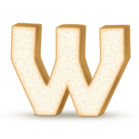 letter w: 3d toast letter W isolated on white background