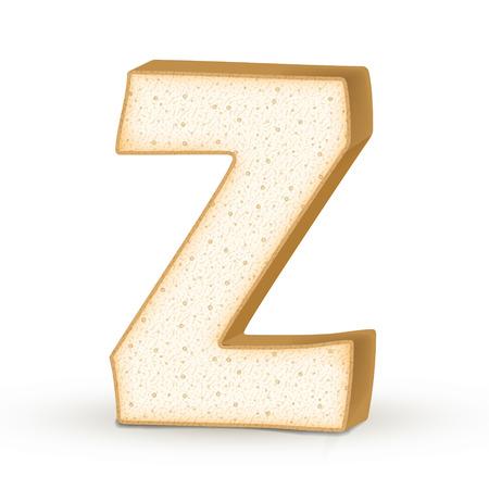 buchstabe z: 3d Toast Buchstaben Z auf wei�em Hintergrund Illustration