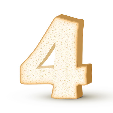 number 4: 3d toast number 4 isolated on white background