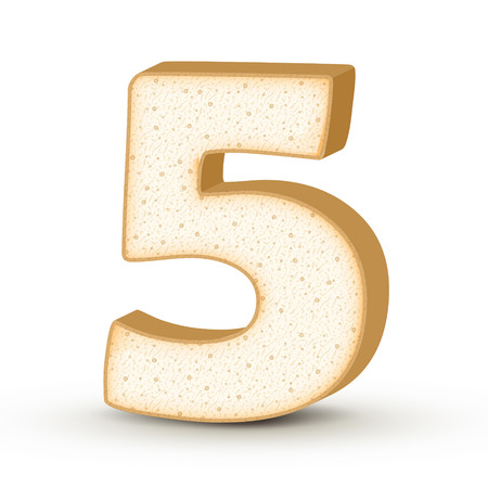 number 5: 3d toast number 5 isolated on white background Illustration