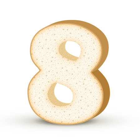 number 8: 3d toast number 8 isolated on white background