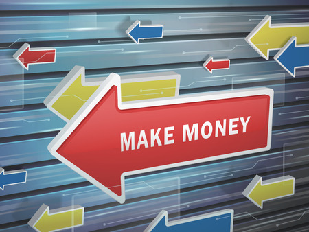 hightech: moving red arrow of make money words on abstract high-tech background Illustration