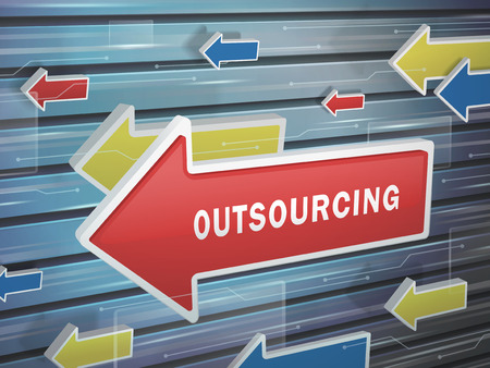 outsourcing: moving red arrow of outsourcing word on abstract high-tech background Illustration