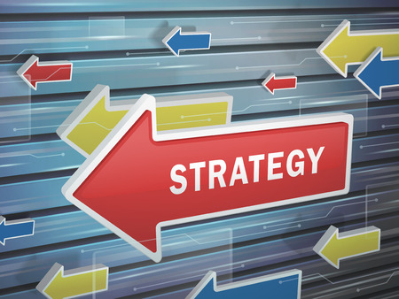 stratagem: moving red arrow of strategy word on abstract high-tech background