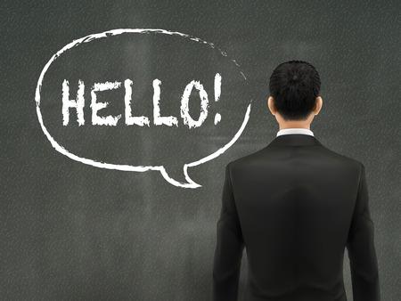 empresario: negocios que buscan en la palabra hola en la pared