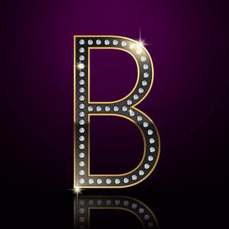 diamond letter: 3d elegante lettera diamante B isolato su sfondo viola