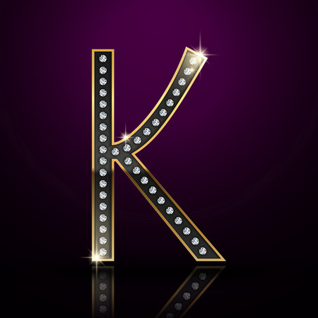 3d elegant diamond letter K isolated on purple background Vector