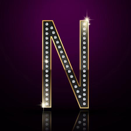 diamond letter: 3d elegant diamond letter N isolated on purple background